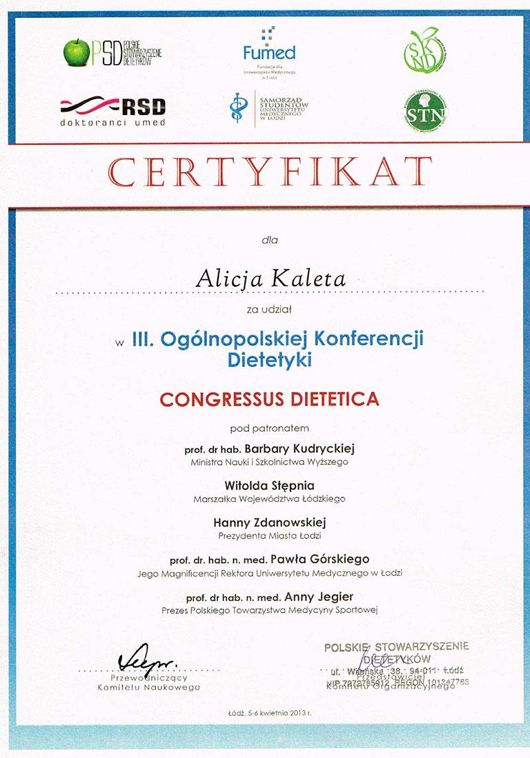 Certyfikat Congressus Dietetica
