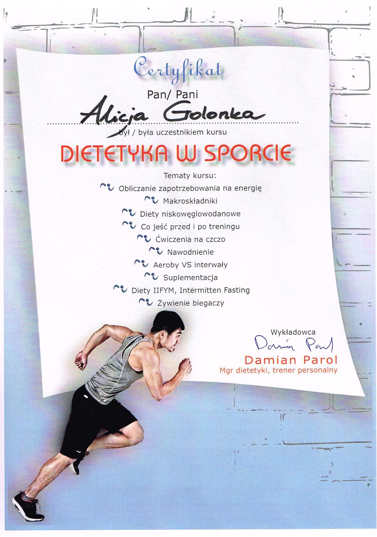 Dietetyka w sporcie dr Damian Parol