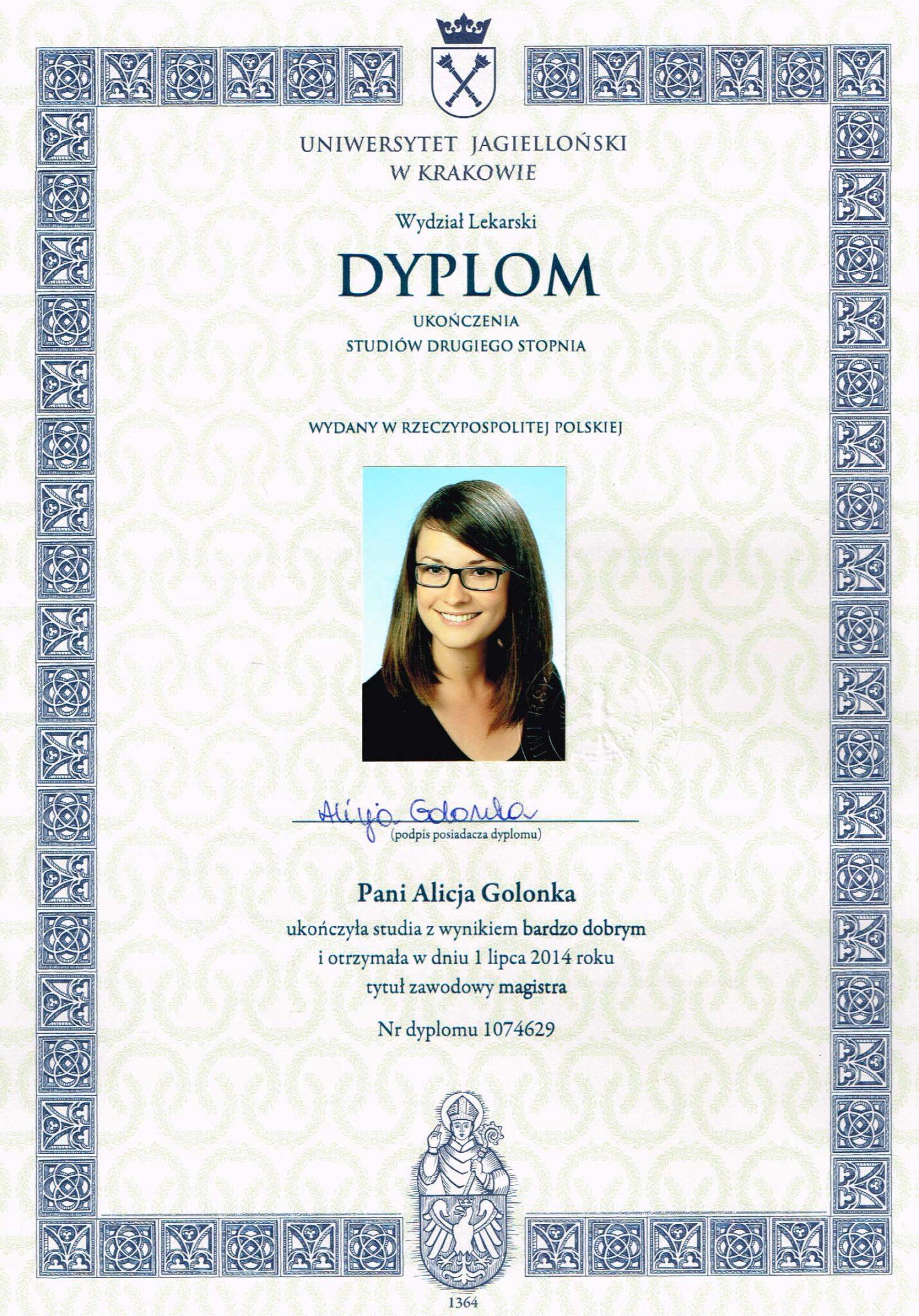 Dyplom magistra