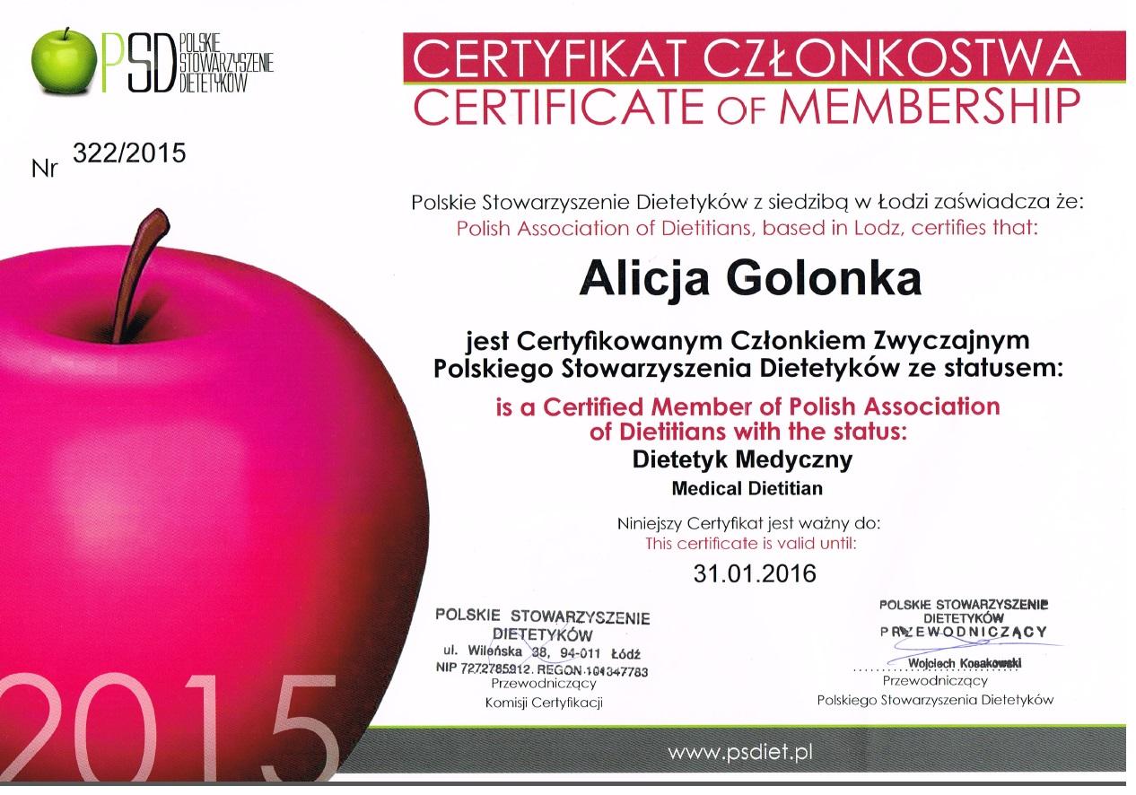 Certyfikat członkowstwa Polskiego Stowarzyszenia Dietetyków