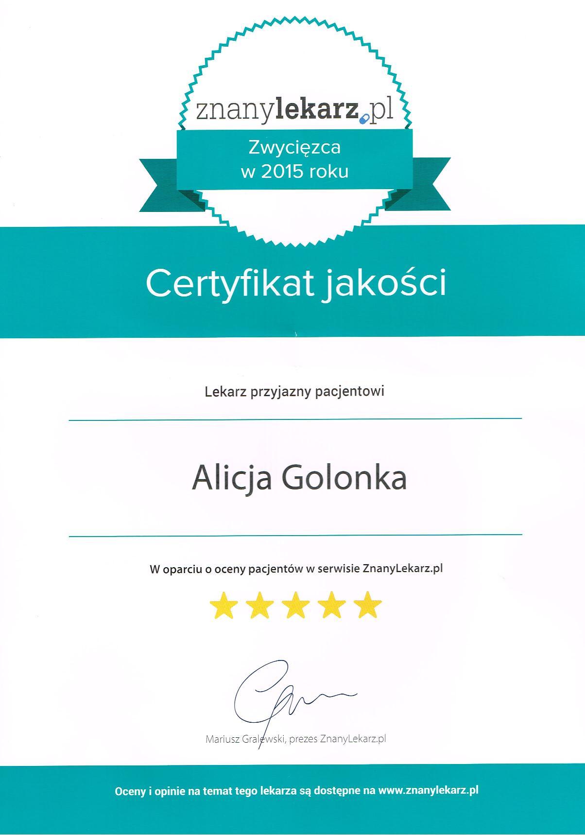 Certyfikat jakości Znanego Lekarza